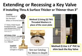 "If the surface for your key valve is thicker or thinner than 3"" we can help w/ extensions or advice."