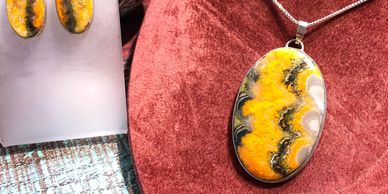 Bumble Bee jasper pendant and earrings set C&R Silver Smiths designs