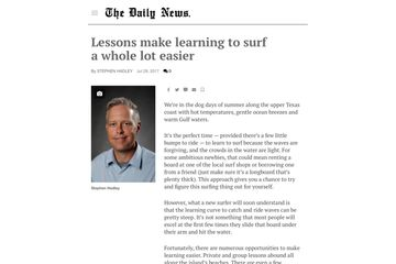 Valz surf lessons article newspaper, Galveston surfing lessons recommendations, Daily News sports