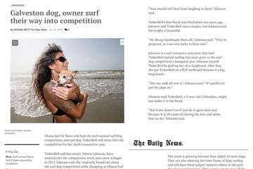 press coverage Valz surf Lessons, surf dog competition, Valerie and TinkerBelle