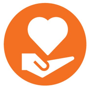 Hand and heart represents our mission to reach seniors in our community