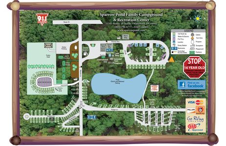 Site Map, Campground near Presque Isle State Park, Erie PA, Sparrow Pond