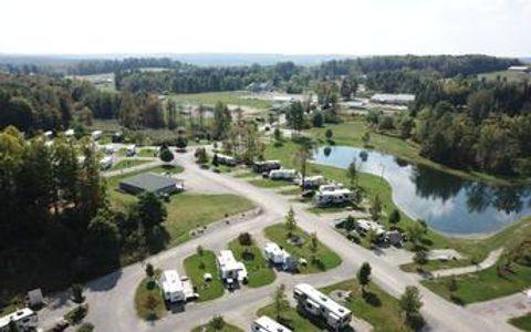 Campground near Presque Isle State Park, Sparrow Pond Family Campground, RV Park, Erie PA, Aerial View of the Campground, Catch and Release Fishing Pond