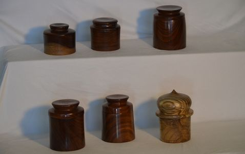 "Music boxes - $80 each Top row:  1947 3 1/2 x 3"" rosewood ""You Are My Sunshine"" 1952 3 x 3"" rosewood"