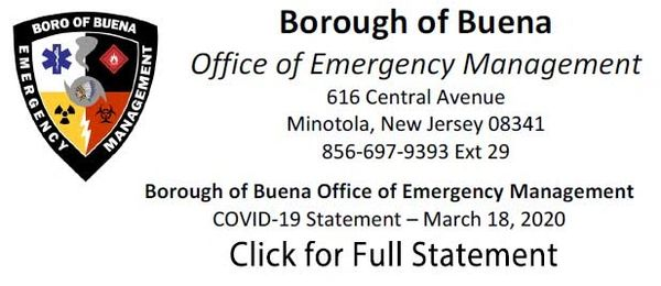 Borough of Buena OEM COVID-19 Statement