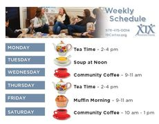 Stop by for regular weekly activities.