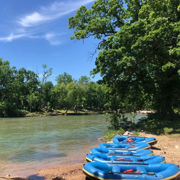 Rafts of Elk River Floats & Campground in Noel and Ginger Blue, Missouri