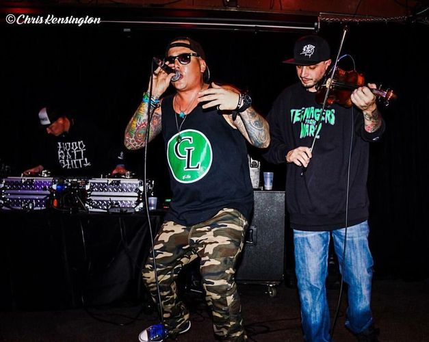 Rapper gLife aka GeorgeLife, Utah hip hop artist, with Master Q on the violin and DJ Pookie DJing