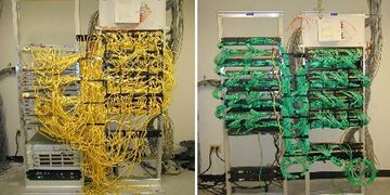 before and after network wiring, network cabling fix, green patch cables, data center improvement