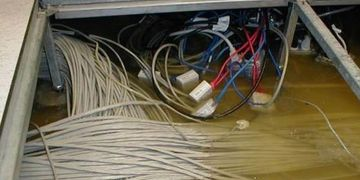 water damaged cat5e and cat6 cabling, data center disaster