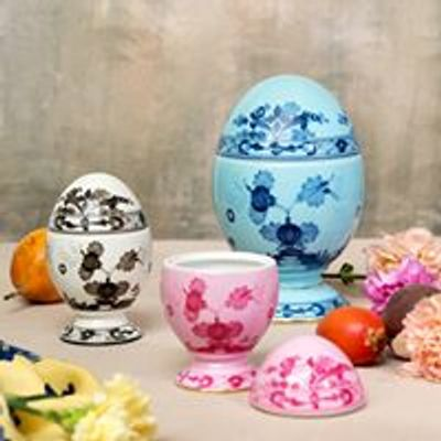 Hand painted porcelain, oriente italiano collection of eggs, made in Italy by Richard Ginori.