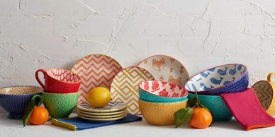 Colorful bowls and mugs by Pfaltzgraff by Lifetime Brands