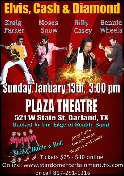 Elvis, Cash & Diamond Plaza Theatre January 13, 2019 @ 3:00 pm  Stardom Entertainment announces, Sun