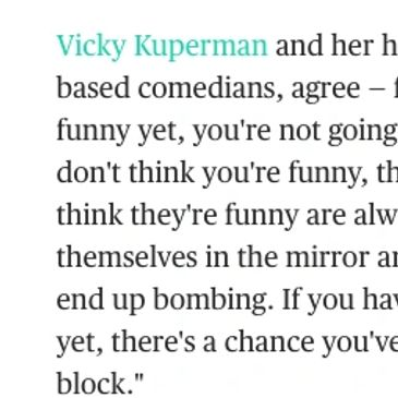 "NBC article ""How To Be Funny"" by Daniele Page about comedy and Vicky Kuperman and Max Cohen"