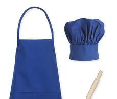 Apron, Chef Hat & Rolling Pin Set, Kids cooking apron, child size chef hat