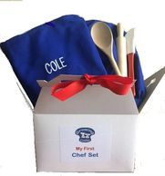 My First Chef Set, Toddler size apron, kids chef hat, kids apron and chef hat set