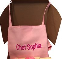 Pink Kids Apron and Chef Hat, The Pink Chef Gift Box Set Personalized Pink Apron