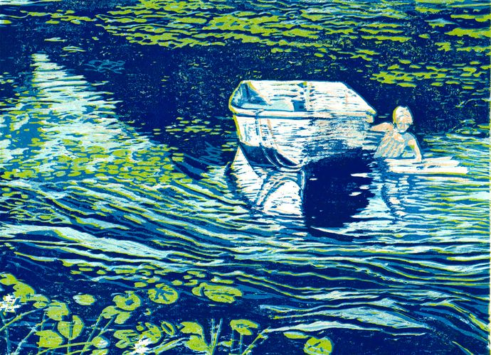 Girl and Boat, reduction woodcut 2018,21x25in,$450