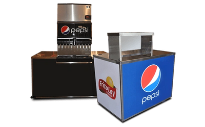 Pepsi portable soft drink fountain cart and Frito Lay merchandise cart