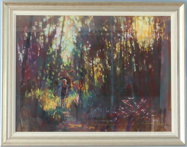 David Napp, Through The Woods In Sunlight, Coloured Pastels