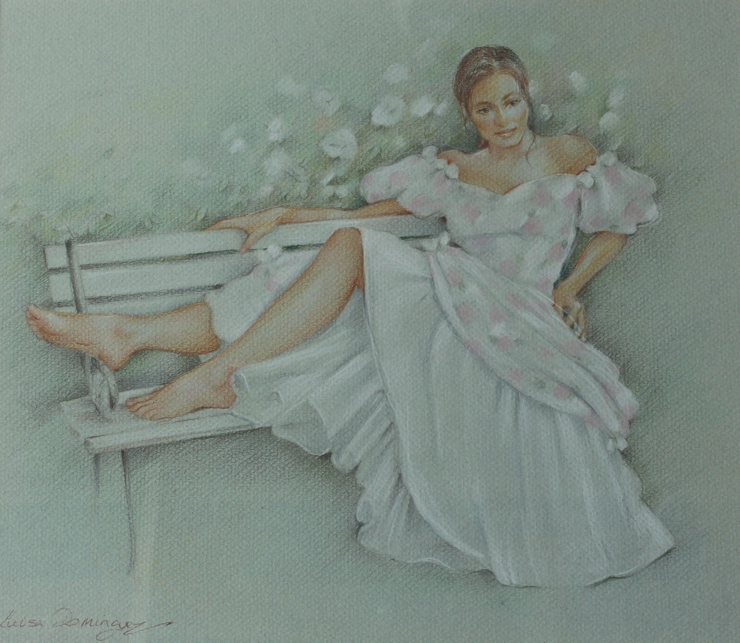 Luisa Dominguez Pastel Portrait of a Reclined Young Woman