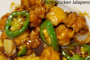 Crispy Chicken Jalapeno. Crispy dark meat chicken tossed with jalapeno and onions in a brown sauce