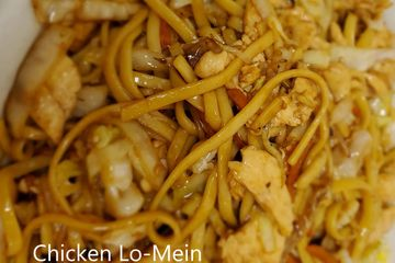 Chicken lo Mein. Stir fried soft egg noodles with bean sprouts, green & white onions, celery,carrots