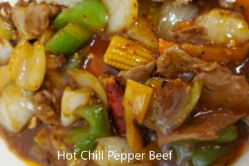 Hot Chili Beef. Bell pepper, chestnut, corn, carrot, bamboo, and onion stir fried with a chili sauce
