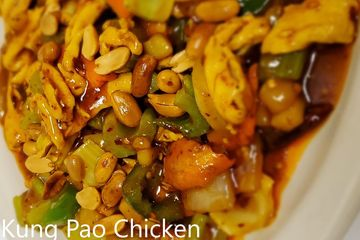 Kung Pao Chicken. Peanuts,celery,chestnuts,onions, bell peppers stir fried in a spicy kung pao sauce