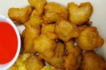 Sweet and Sour Pork. Fried pork nuggets, served with home made sweet and sour sauce