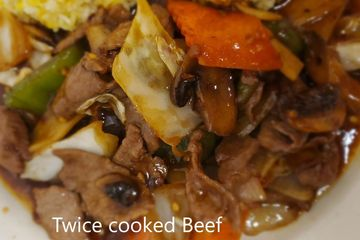 Twice Cook Beef.Bell peppers, mushrooms,onions,cabbage,carrot,bamboo stir fried in spicy brown sauce