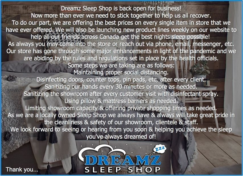 Dreamz Covid-19 Pandemic Cleaning Mattress Store Information