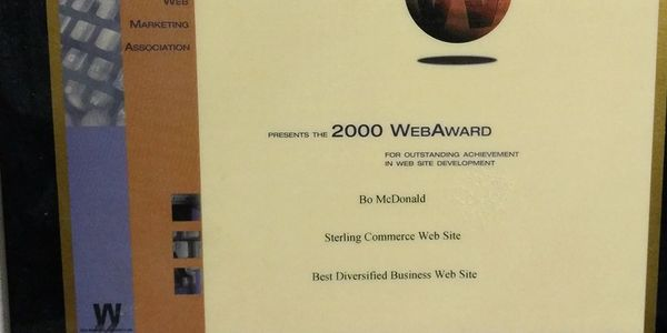 2000 WebAward for my work on www.sterlngcommerce.com as Senior Web Producer/ Videographer.