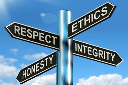 Respect, Ethics, Honesty, and integrity.
