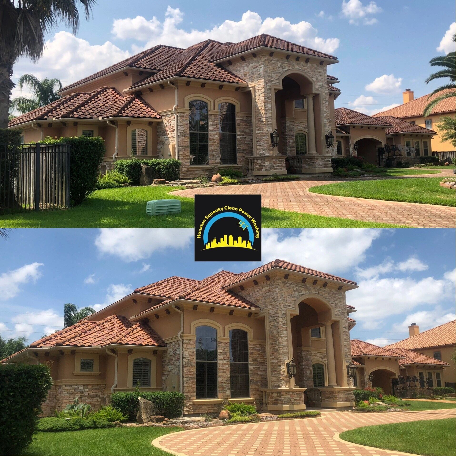 Complete Exterior Cleaning; roof wash, house wash and driveway cleaning.