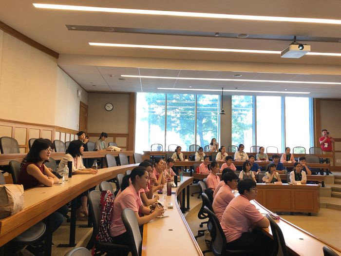 American & Chinese Students Taking it all in. First day of Class at Harvard University.