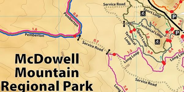 McDowell Mountain Regional Park Arizona,  Competitive track & Pemberton map thumbnail. Color coded!