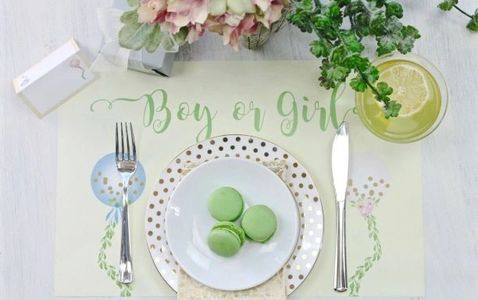 Boy or girl Gender reveal placemat and party goods
