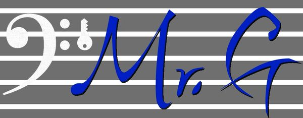 Mr. G KeyOfMrG logo with a bass clef and staff