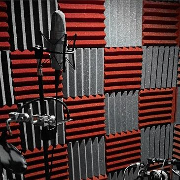 The Intelligent South vocal booth with a Shure microphone and a Gibson acoustic guitar