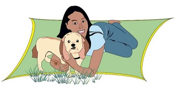 Ohana & Friends Pet Sitting owner, Joelyn, with Browny the dog.