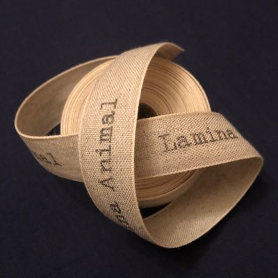 Linen ribbon labels for Lamina Animal