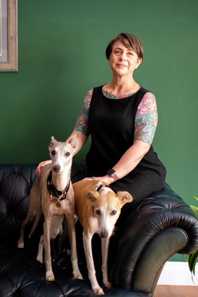 Bertie and Scout the whippets wearing Lamina Animal linen collars