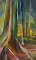 Abstract painting of forest by Sue Boydston
