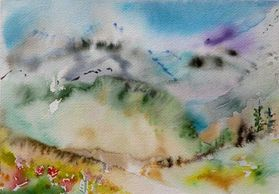 Abstract Watercolor Painting of Mount Rainier by Sue Boydston