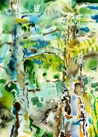 Abstract Watercolor Painting of a Rainforest by Sue Boydston