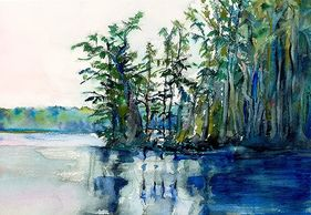 Watercolor Painting of Waccamaw River by Sue Boydston