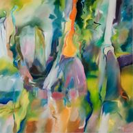 Abstract oil painting of 3 cypress trees by Sue Boydston
