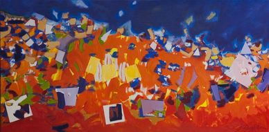 Abstract painting of parade by Sue Boydston