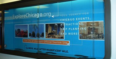 A design for a kiosk style display window at the Hyatt Regency Chicago promoting  Chicago tourism.